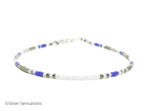 Slim White, Purple & Silver Seed Bead Layering Bracelet
